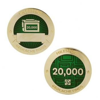 Milestone Geocoin und Tag Set - 20.000 Finds