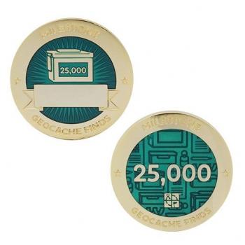 Milestone Geocoin und Tag Set - 25.000 Finds
