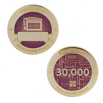 Milestone Geocoin und Tag Set - 30.000 Finds
