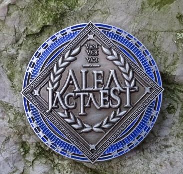 ALEA IACTA EST Geocoin - Antik Silber / Blau LE 75
