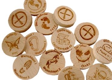 25 x WoodCoins (Buche massiv)