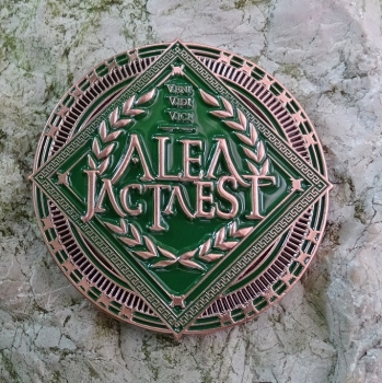 ALEA IACTA EST Geocoin - antique copper / green LE 75