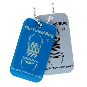 Geocaching QR Travel Bug® - Blau / Glow in the Dark