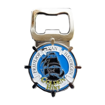Golden Hint Bottle Opener Geocoin - Arctic Sea