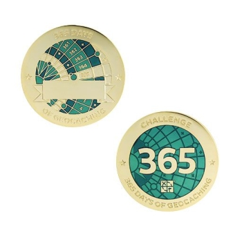 Challenges Geocoin und Tag Set - 365 Days of Geocaching