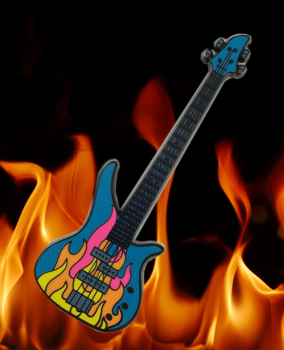 Fire-Rock Guitar Geocoin - Black Nickel/Neon