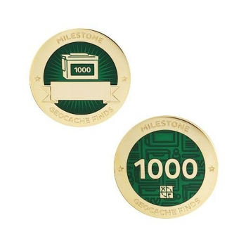 Milestone Geocoin und Tag Set - 1000 Finds