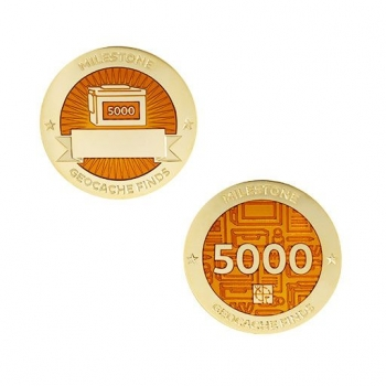 Milestone Geocoin und Tag Set - 5000 Finds