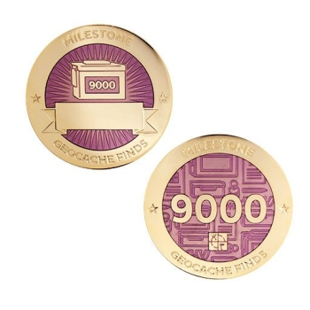 Milestone Geocoin und Tag Set - 9000 Finds