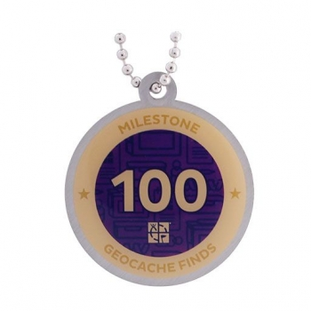 Milestone Geocoin und Tag Set - 100 Finds