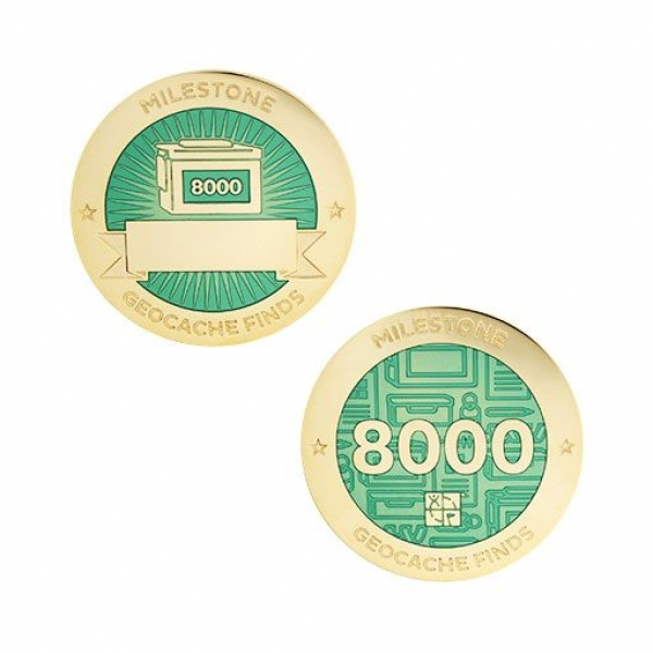 Milestone Geocoin und Tag Set - 8000 Finds
