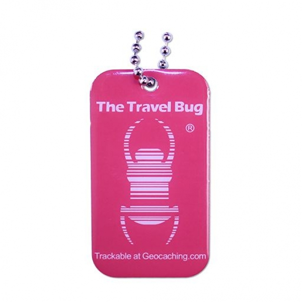 Geocaching QR Travel Bug® - Atomic Pink / Glow in the Dark